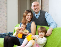 Happy family with two children Royalty Free Stock Images