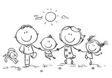 Happy family with two children having fun running outdoors, outline stock illustration
