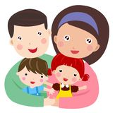 Happy family with two children. Illustration of Happy family with two children stock illustration