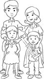 Happy family with two children, line art cartoon Royalty Free Stock Photo