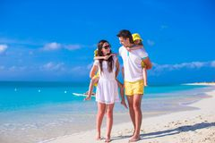 Happy family with two girls on summer vacation Royalty Free Stock Images