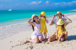 Happy family with two girls on summer vacation Stock Photography