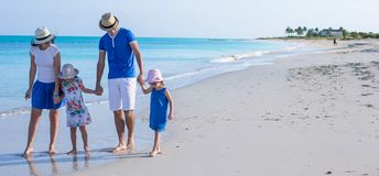 Happy family with two girls on summer vacation Royalty Free Stock Photography