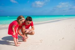 Happy family with two girls on summer vacation Stock Images