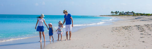 Happy family with two girls on summer vacation Stock Photo