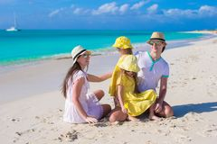 Happy family with two kids on caribbean vacation Royalty Free Stock Photo