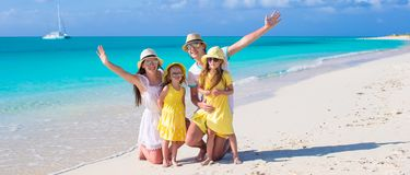 Happy family with two kids on caribbean vacation Royalty Free Stock Photos