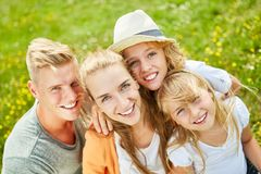 Happy family and two children royalty free stock photo