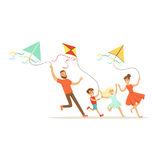 Happy family with two kids having fun flying kites, colorful character vector Illustration Stock Photo