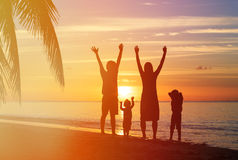 Happy family with two kids having fun on sunset Royalty Free Stock Image