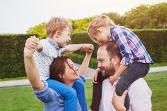 Happy family with two kids outside, love Royalty Free Stock Images