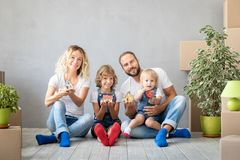 Family New Home Moving Day House Concept stock photography