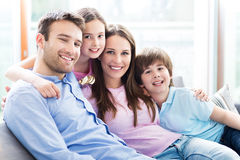 Happy family with two kids Stock Images