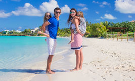 Happy family with two kids on summer vacation have Royalty Free Stock Photos