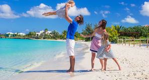 Happy family with two kids on summer vacation Stock Photo