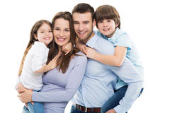 Happy family with two kids. Young family with two children royalty free stock images