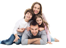 Happy family with two kids Stock Image