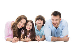 Happy family with two kids Stock Photos