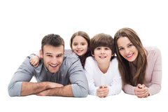 Happy family with two kids. Young family with two children royalty free stock photography