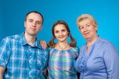 Happy family in the two-party Stock Photo