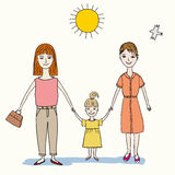 Happy family of two women and child Stock Photography