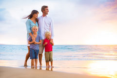 Happy Family with Two Young Kids Stock Image