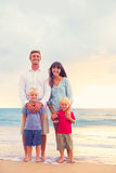 Happy Family with Two Young Kids Royalty Free Stock Image