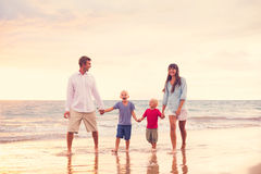 Happy Family with Two Young Kids Royalty Free Stock Photography