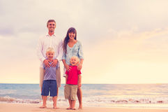 Happy Family with Two Young Kids Royalty Free Stock Images