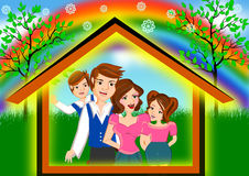 Happy family under house Stock Photography