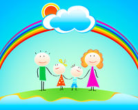 Happy family under rainbow Royalty Free Stock Photos