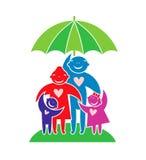 Happy family under umbrella. Royalty Free Stock Photo