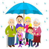 Happy family under umbrella Royalty Free Stock Photography