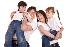 Happy family upbringing children. Royalty Free Stock Image