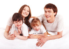 Happy family upbringing children. Royalty Free Stock Images