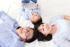 Happy family using tablet pc Royalty Free Stock Images