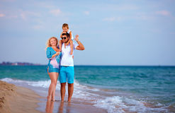 Happy family on vacation, beach Royalty Free Stock Photo