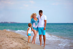 Happy family on vacation, beach Stock Images