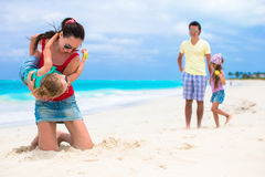 Happy family vacation on caribbean perfect beach Royalty Free Stock Image