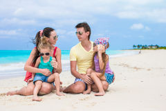 Happy family vacation on caribbean perfect beach Stock Photography