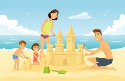 Happy family on vacation - cartoon people character illustration. Young smiling parents building a sandcastle on the beach with their son and daughter, having Royalty Free Stock Image