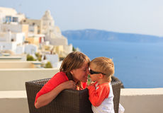 Happy family on vacation in Greece Stock Photos