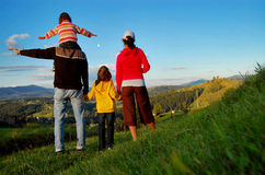 Happy family on vacation in mountains Royalty Free Stock Photo