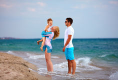 Happy family on vacation, sea beach Stock Image