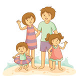 Happy family vacation together on beach. Happy family vacation together on beach, vector illustration Royalty Free Stock Image