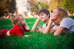 Happy family on vacations Stock Photos