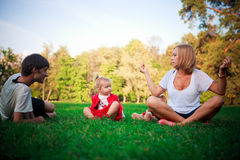 Happy family on vacations Stock Images