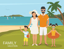 Happy family vacations illustration flat design Royalty Free Stock Photo