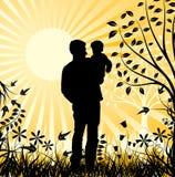 Happy family, vector. Happy family, sunset, vector illustration Royalty Free Stock Photos