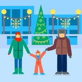 Happy family vector, people skate on the rink stock illustration